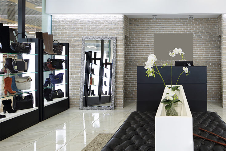 Shoe Store Example With Brick wall Finish