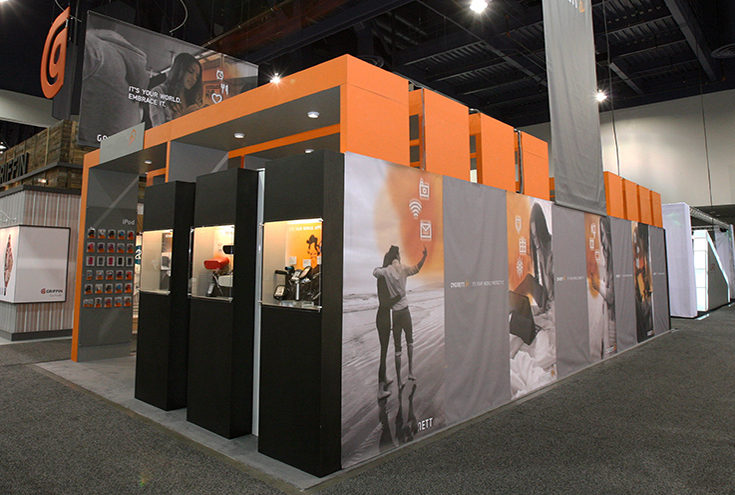 Tradeshow example with orange finishing