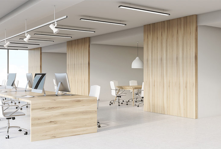 Office example with light maple wood finishing