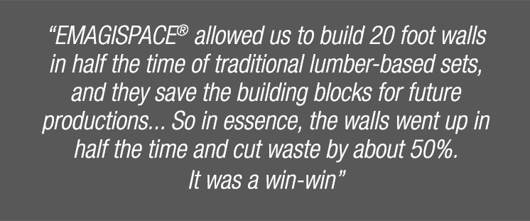 """Emagispace allowed us to build 20 foot walls in half the time of traditional lumber based sets, and they save the buildign blocks for future productions... So in essence, the walls went up in half the time and cut waste by about 50%. It was a win-win"""
